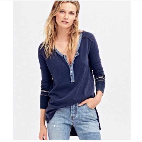 Free People Tops - Free People Dallas Navy Henley Button Top